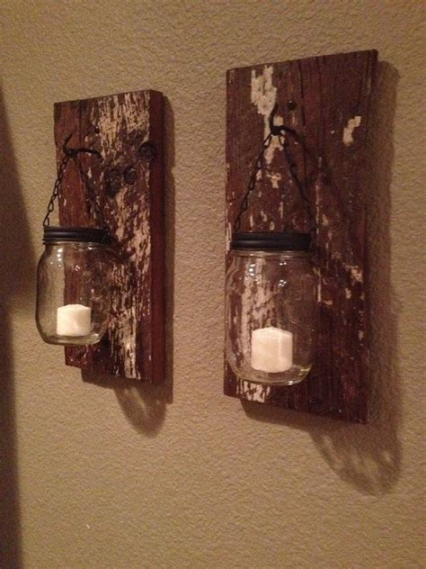 barn wood mason jar candle holders   jars