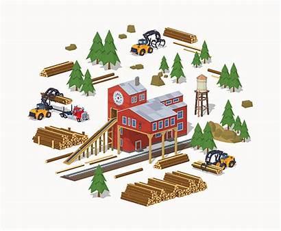 Sawmill Mill Lumber Vector Saw 3d Building
