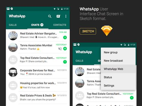 whatsapp android whatsapp android chat ui sketch freebie free
