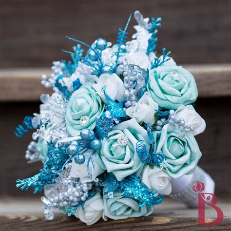 frozen inspired blue  white winter wonderland bouquet