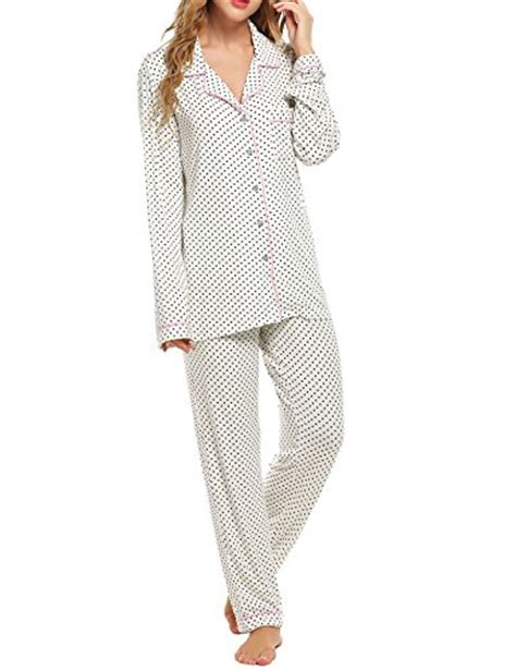 Ekouaer Pajamas Set Long Sleeve Sleepwear Womens Button