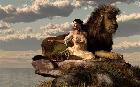woman  lion digital art  daniel eskridge