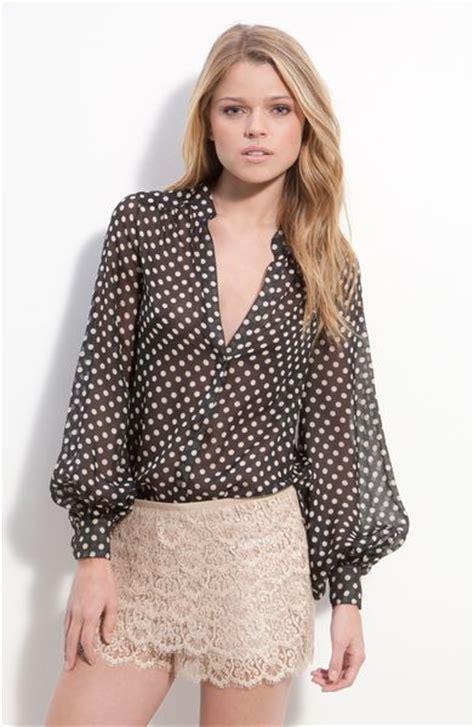 polka dot blouses haute hippie sheer polka dot silk blouse in black lyst
