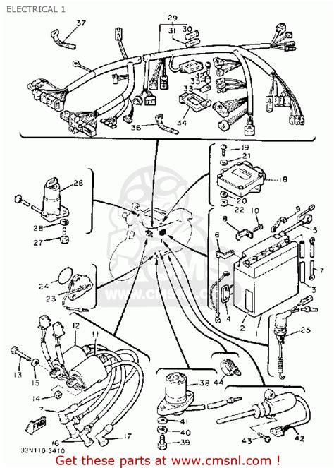 yamaha xj750mk midnight maxim 1983 electrical 1 schematic partsfiche