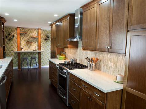 traditional galley kitchen  warm wood tones hgtv