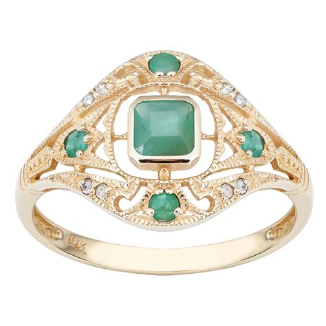 yellow gold vintage style genuine emerald  diamond
