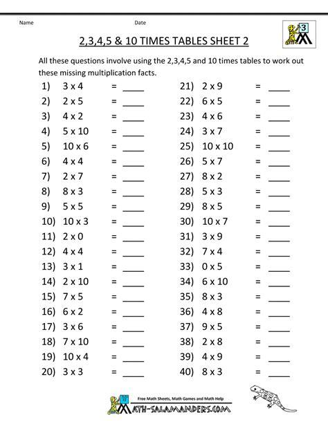 multiplication table worksheets grade 3
