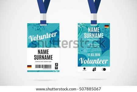 event volunteer id card set lanyard stock vector