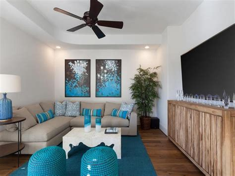Turquoise And White Living Room : Gray And Turquoise Blue Living Rooms Transitional Room