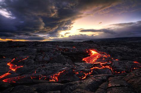 Landscape Lava Volcano Clouds Indonesia Rock
