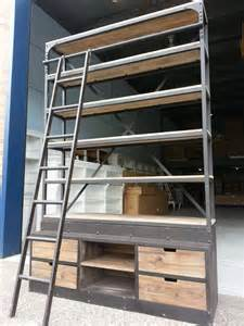 Industrial Rustic Ladder Bookcase