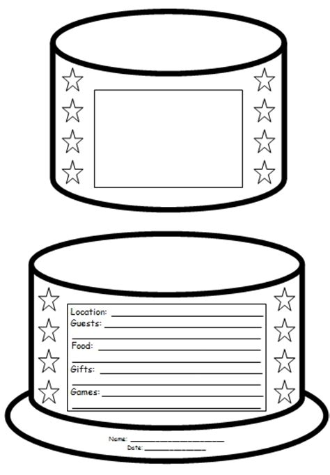 birthday cake template birthday cake book report project templates worksheets rubric and more