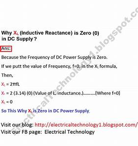 Why Xl Inductive Reactance In Dc Supply Is Zero  0