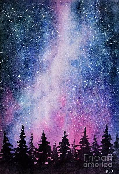Night Starry Sky Watercolor Painting Rebecca Davis