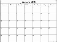 January 2020 free printable blank calendar collection