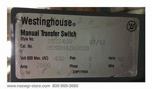 Westinghouse 1230c70g03 Manual Transfer Switch