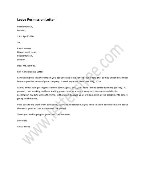 leave permission letter  written   leave