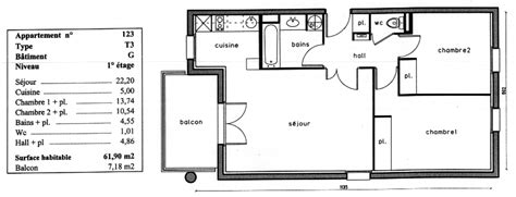 plan appartement t3 50m2