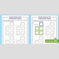 * New * Number Bonds To Five Using Number Shapes Worksheet  Ks1 Number Bonds