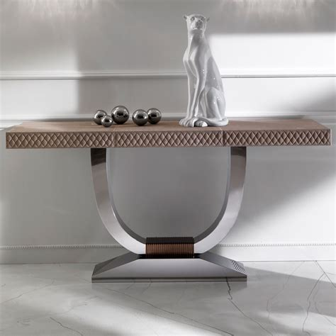 modern nubuck leather console table juliettes interiors