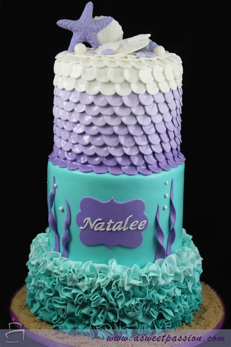Under the sea! This adorable sea/mermaid themed cake is perfect for a little girl's birthday