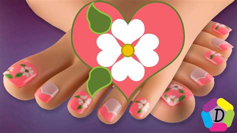 Figuras geometricas en uñas del pie. Flores en Corazones | Decoración de Uñas para Pies Fácil | Flowers in Hearts Foot Nail Art - YouTube