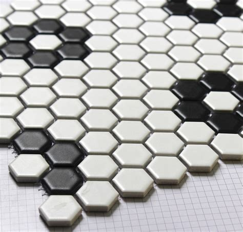 hexagon mosaics tile black and white parquet mosaic puzzled tiles bathroom floor kitchen