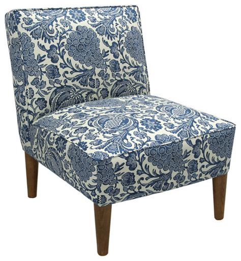 made to order blue floral armless chair