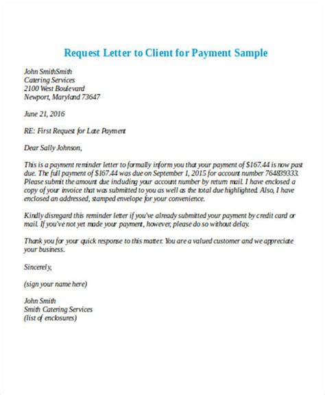payment letter formats