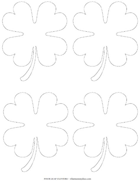 printable  leaf clover templates large small