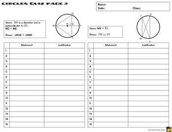 circles proofs two column proof practice and quiz by math giraffe
