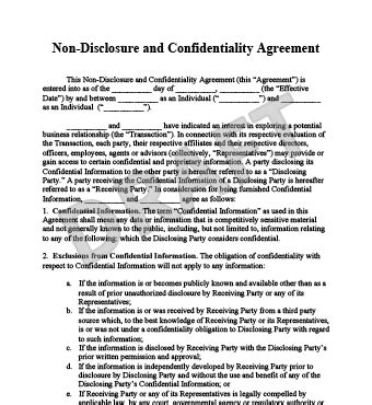 Free Non Disclosure Agreement Template by Non Disclosure Agreement Template Create A Free Nda Form
