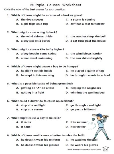 Cause & Effect Worksheets  Fran's Freebies