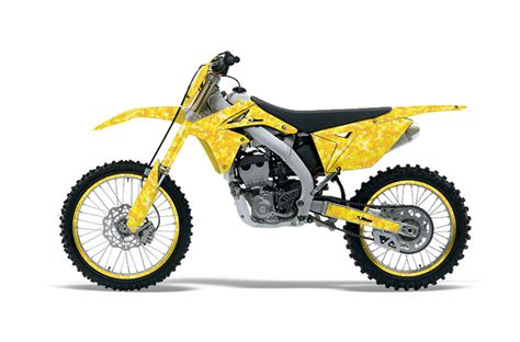 suzuki rmz 250 dirt bike graphics digicamo yellow mx graphic wrap kit 2010 2016 dirt bike