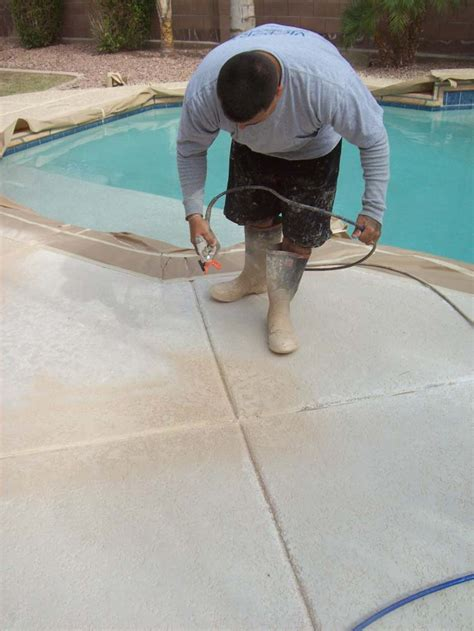 acrylic pool deck coating using acrylic paint with polymer concrete repairman