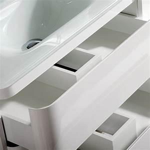 Vasque En Verre : meuble vasque avec plan en verre 100 cm qube ~ Melissatoandfro.com Idées de Décoration