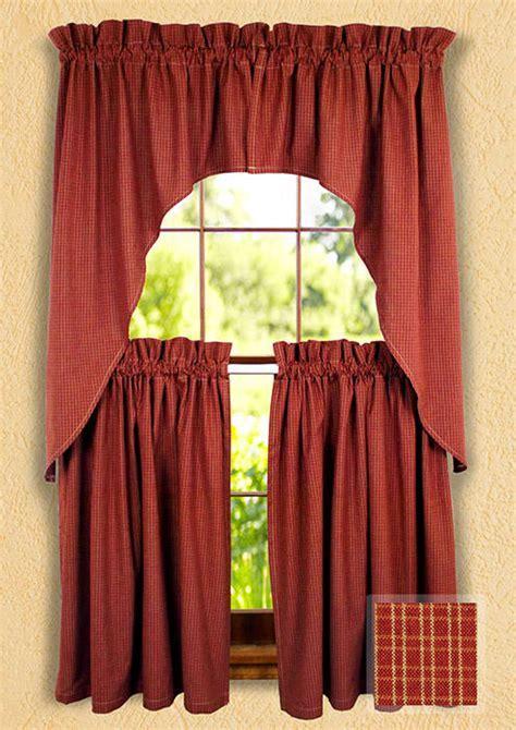 Wine Reverse Double Pane Window Curtain Swags