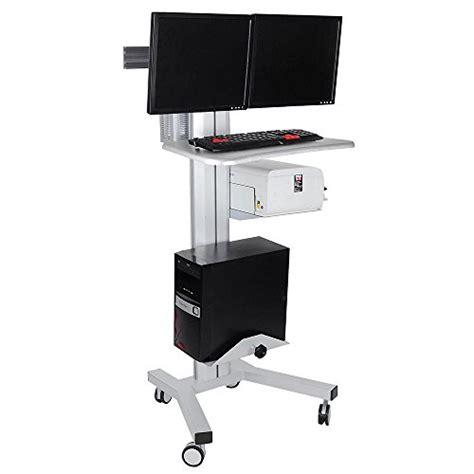 aw rolling desktop pc mobile cart  dual monitor  wheel