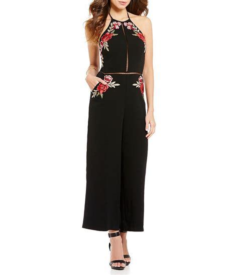 gianni bini jumpsuit gianni bini rosa halter neck sleeveless floral applique