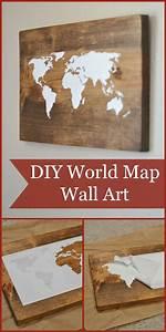 diy world map wall art tutorial kids pinterest With map wall art