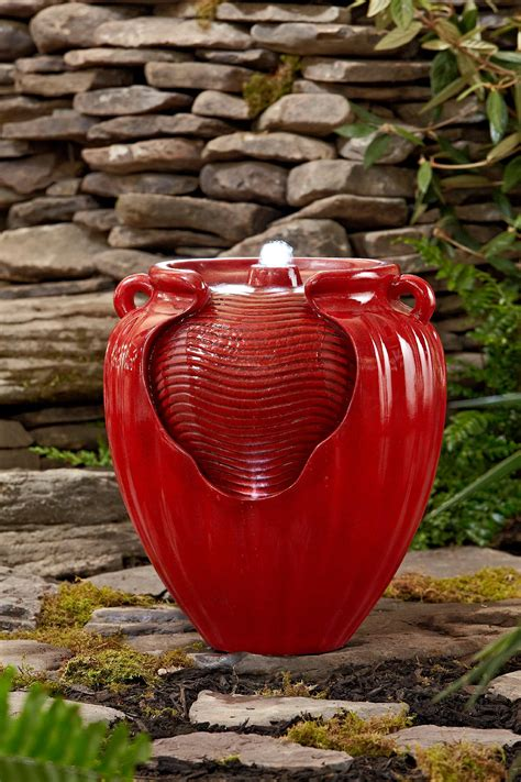essential garden red glazed pot fountain limited