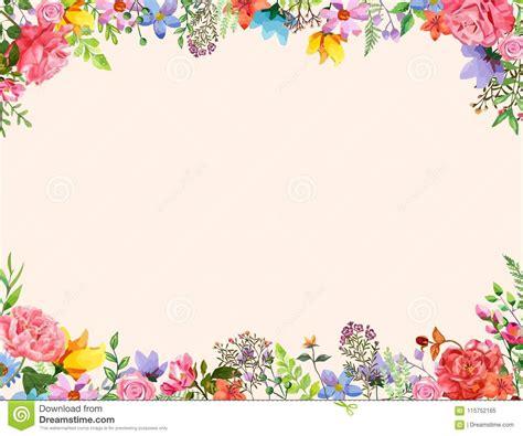 flower frame invitation design template vector