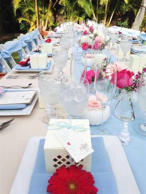 light blue runner chair sash napkins beige tablecloth
