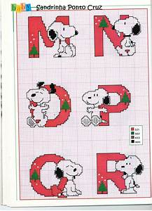 cross stitch christmas on pinterest punto croce With snoopy letters