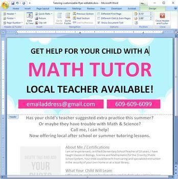 tutor flyer template customizable editable  word tpt