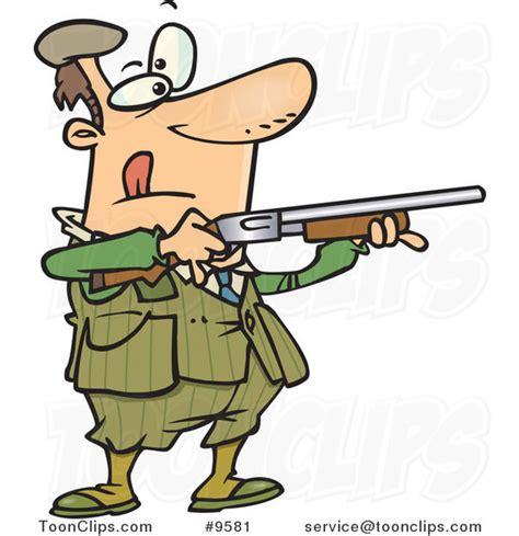 Cartoon Guy Shooting Clay Pigeons #9581 by Ron Leishman