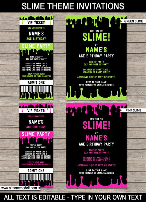 slime theme birthday party printables slime decorations