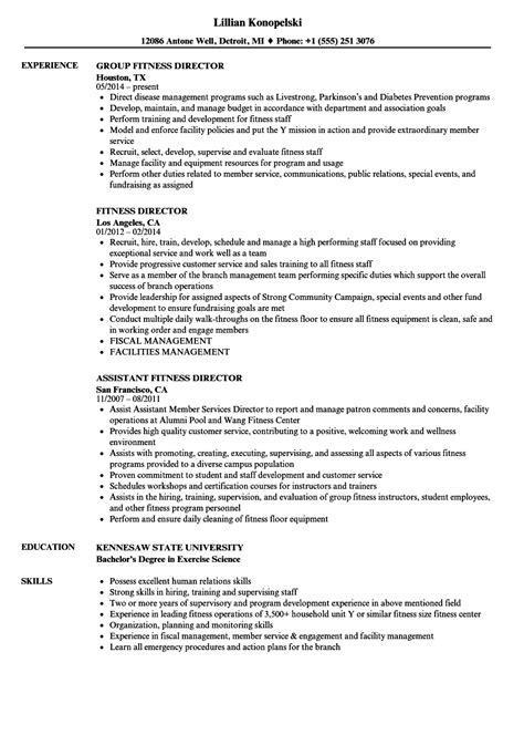 Fitness Resume by Fitness Director Resume Sles Velvet