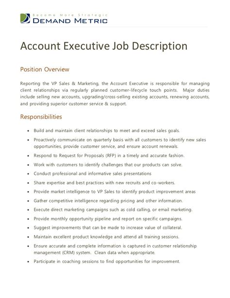 Account Manager Description For Resume by Account Executive Description Marketing Manager Cv Exle For Marketing Livecareer Hr