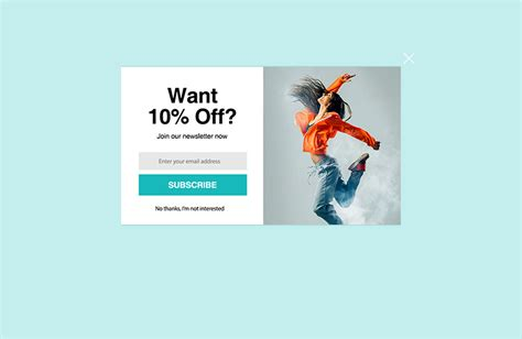 email subscription popup template dynamic yield